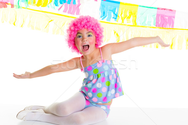 child kid girl with party clown pink wig funny expression Stock photo © lunamarina