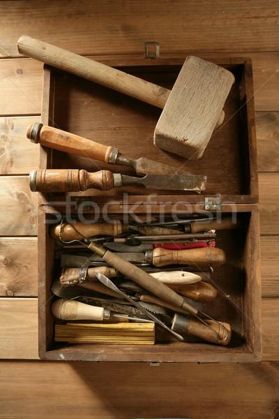 carpenter artist wooden craftman toolbox Stock photo © lunamarina