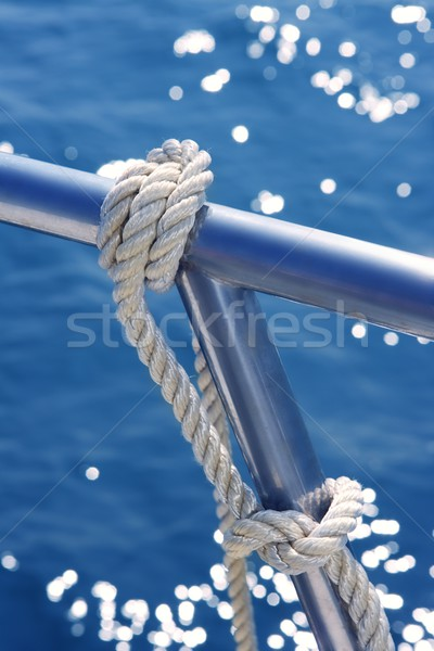 marine knot detail stainless steel boat railing Stock photo © lunamarina