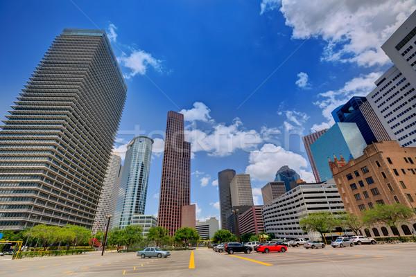 Houston sziluett városkép Texas égbolt tájkép Stock fotó © lunamarina