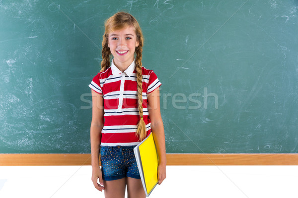 Blond braid schoolgirl with student spiral notebook Stock photo © lunamarina