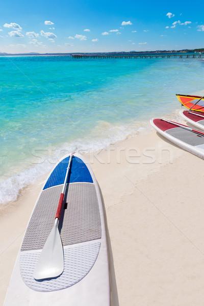 Platja de Alcudia beach Paddle surf board Mallorca Stock photo © lunamarina