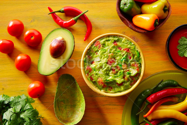 Mexican food mixed guacamole nachos chili sauce Stock photo © lunamarina