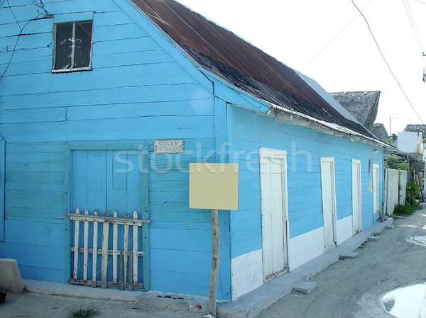 Blue house in caribbean island Quintana Roo Stock photo © lunamarina