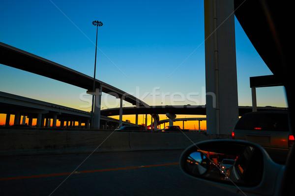 Naplemente autópálya hidak Houston Texas város Stock fotó © lunamarina