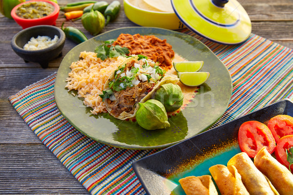 Mexican carnitas tacos with salsa and Mexico food ingredients Stock photo © lunamarina