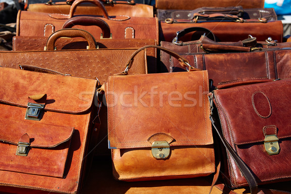 Deri çanta Fas Afrika açık Stok fotoğraf © lunamarina
