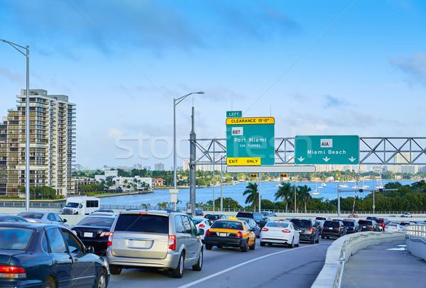 Miami forgalom vezetés tengerpart Florida belváros Stock fotó © lunamarina