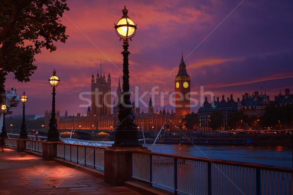 Londen zonsondergang skyline theems rivier water Stockfoto © lunamarina