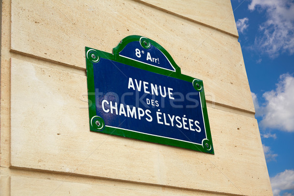Champs Elysees avenue street sign in Paris Stock photo © lunamarina