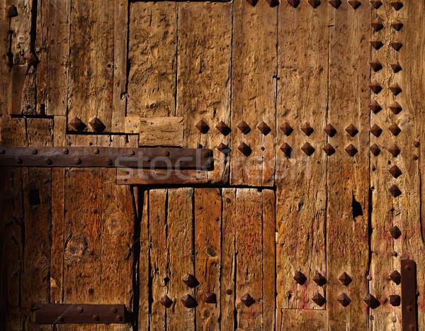 ősi fából készült ajtó Valencia városi kastély Stock fotó © lunamarina