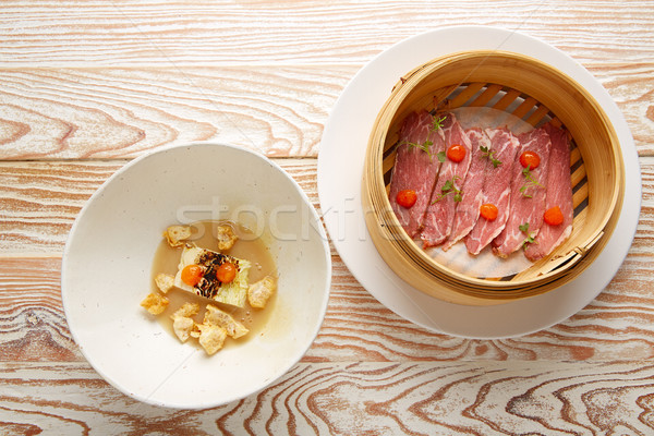 Pork ham with XO sauce and cabbage rinds Stock photo © lunamarina