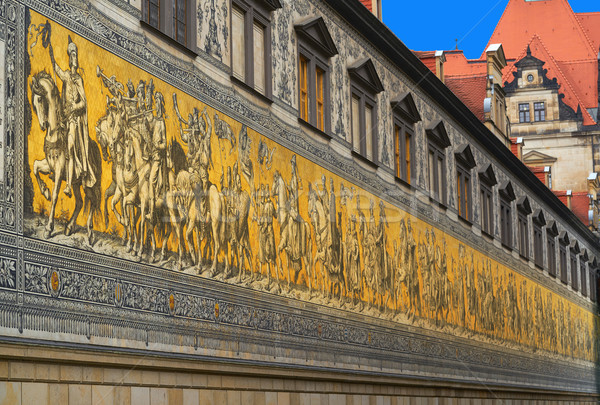 Procession of Princes mural in Stallhof of Dresden Stock photo © lunamarina