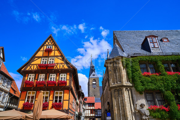 Rathaus Quedlinburg facade in Harz Germany Stock photo © lunamarina