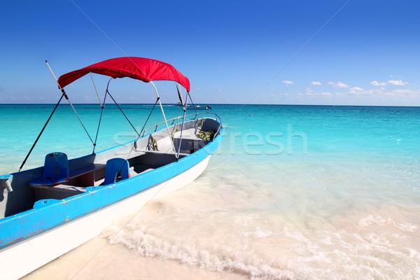 Сток-фото: лодка · тропический · пляж · Карибы · бирюзовый · морем · воды