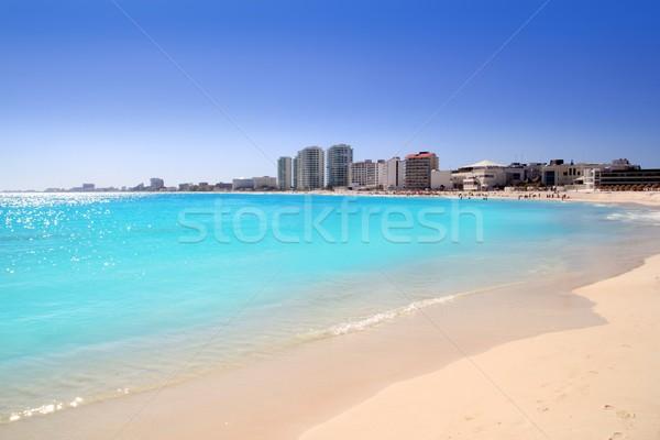 Cancun tengerpart kilátás türkiz Karib víz Stock fotó © lunamarina