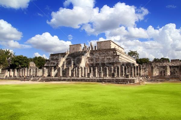 Chichen Itza guerriers temple Mexique mur monde Photo stock © lunamarina