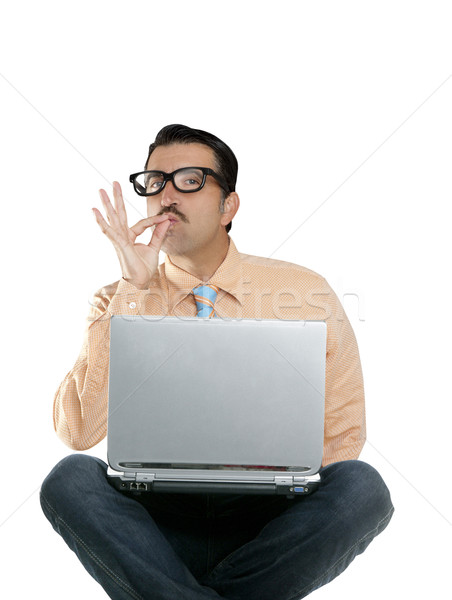 geek man sit laptop computer ok positive gesture Stock photo © lunamarina
