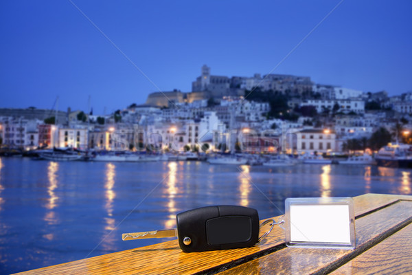 Car rental keys on wood table in Ibiza town Stock photo © lunamarina