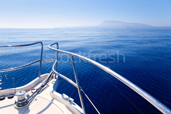 Boat bow sailing in blue Mediterranean sea Stock photo © lunamarina