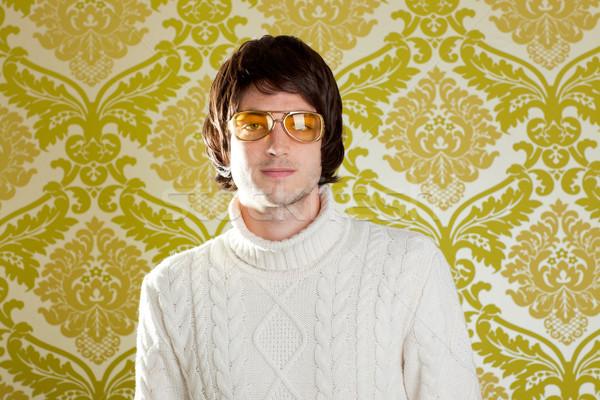 Retro uomo vintage occhiali dolcevita maglione Foto d'archivio © lunamarina
