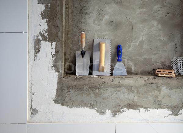 Zdjęcia stock: Budowy · ze · stali · nierdzewnej · narzędzia · cementu · budynku