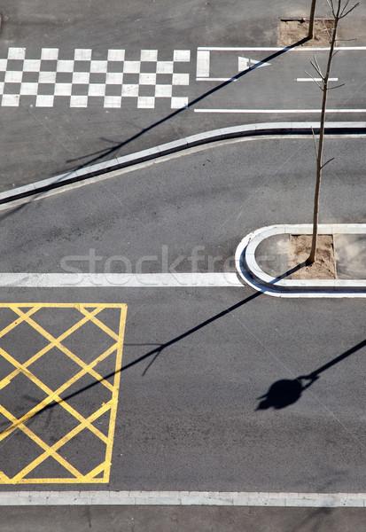 City asphalt lines and shadow aerial view Stock photo © lunamarina