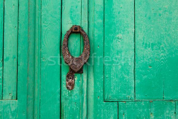 зеленый двери Канарские острова подробность текстуры стены Сток-фото © lunamarina