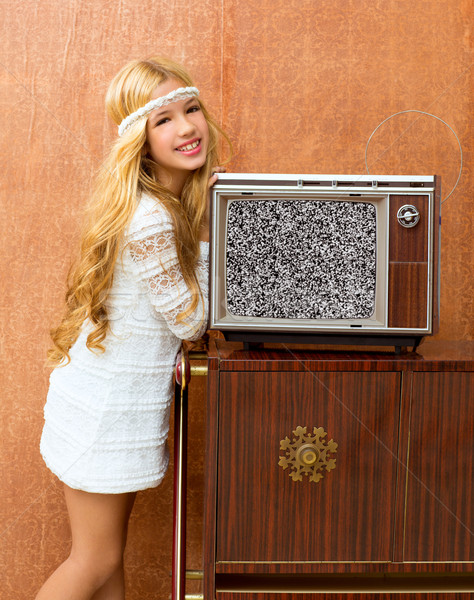 Blond vintage 70s kid girl with retro love old tv Stock photo © lunamarina