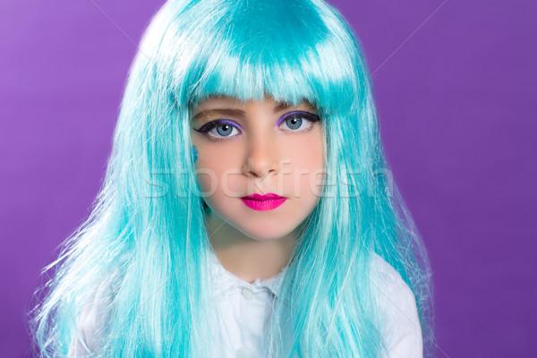 子供 少女 青 長い かつら ターコイズ ストックフォト © lunamarina