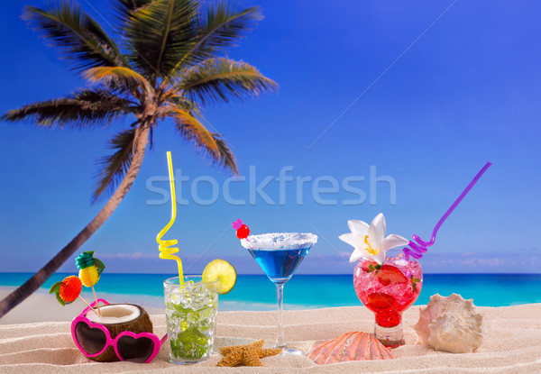 beach tropical cocktails on white sand mojito blue hawaii Stock photo © lunamarina