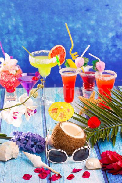 Kleurrijk gemengd cocktails tropische Blauw hout Stockfoto © lunamarina
