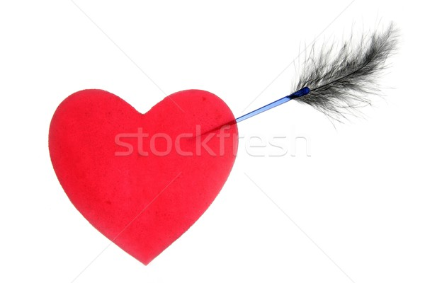 Candy valentines heart with arrow and feather Stock photo © lunamarina