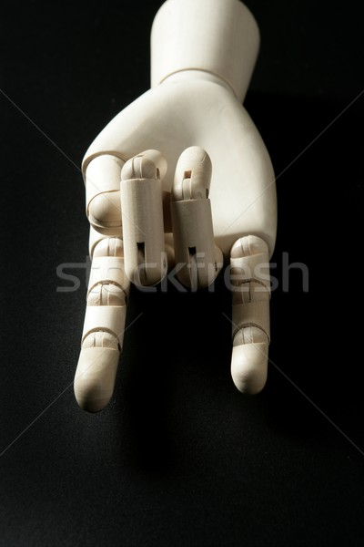 Mannequin wooden hand, horns with fingers Stock photo © lunamarina