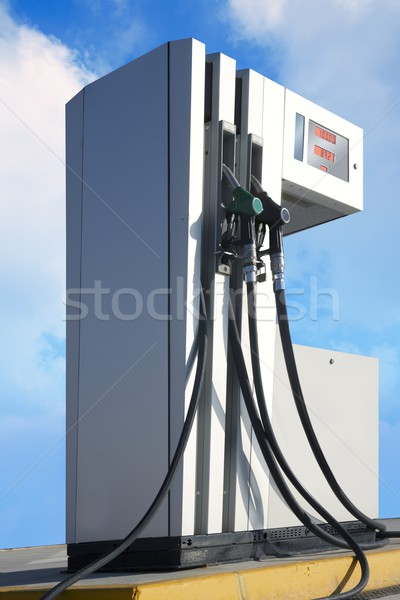 Tankstation pompen outdoor blauwe hemel Blauw Stockfoto © lunamarina