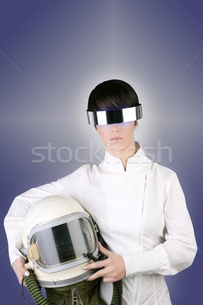 ストックフォト: 未来的な · 宇宙船 · 航空機 · ヘルメット · 宇宙飛行士 · 女性