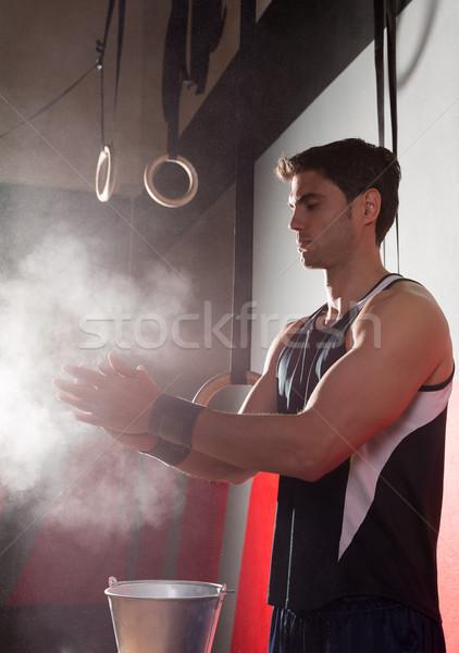 Siłowni kredy magnez ręce człowiek Zdjęcia stock © lunamarina