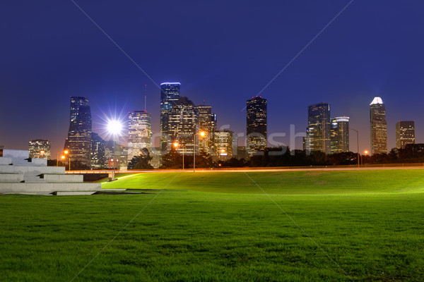Houston zonsondergang skyline Texas park hemel Stockfoto © lunamarina