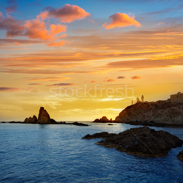 ストックフォト: 灯台 · 日没 · スペイン · 地中海 · 海 · 雲