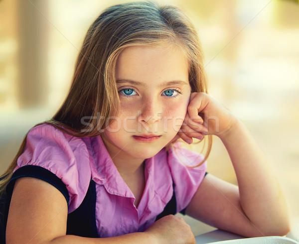 ブロンド 悲しい 子供 少女 青い目 ストックフォト © lunamarina