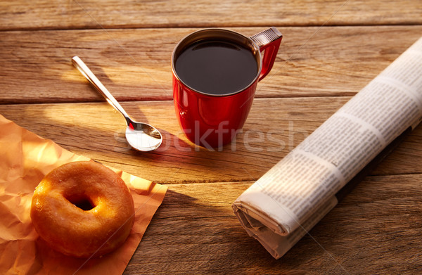 Coffee red cup newspaper and dona morning breakfast Stock photo © lunamarina