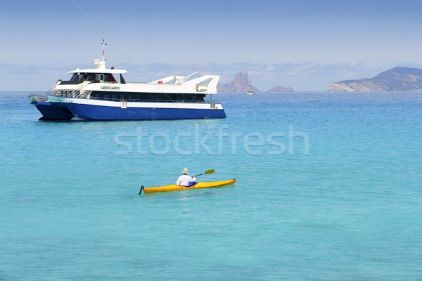 Illetas turquoise sea kayak Formentera boat Stock photo © lunamarina