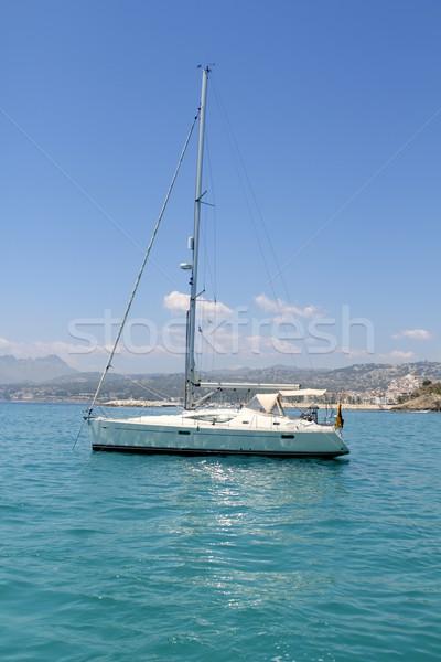 sailboat turquoise tropical Moraira Playa Portet Stock photo © lunamarina