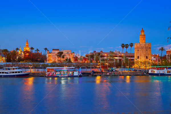 Seville sunset skyline torre del Oro and Giralda Stock photo © lunamarina