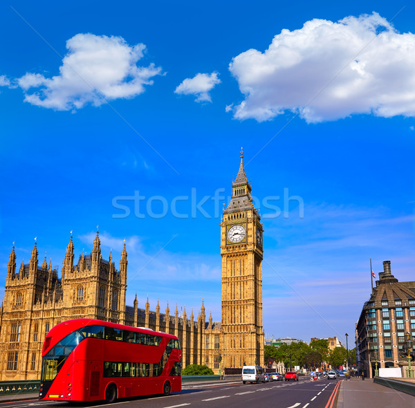 Big Ben Clock Tower and London Bus Stock photo © lunamarina