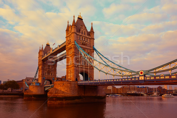 Photo stock: Londres · Tower · Bridge · thames · rivière · coucher · du · soleil · Angleterre