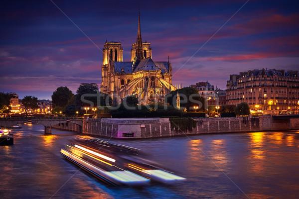 Catedral de Notre Dame París puesta de sol río Francia cielo Foto stock © lunamarina