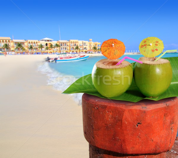 Stockfoto: Mexico · strand · kokosnoot · cocktail · stro · water