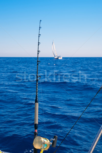 Stock fotó: Halászhajók · trollkodás · óceán · arany · tekercs · rúd