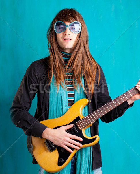 humor retro vintage hip heavy seventies guitar playe Stock photo © lunamarina